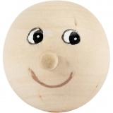 Holzkopf mit Gesicht, Hellbeige, D: 23 mm, 4 Stck./ 1 Pck.