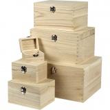 Holzkästen-Set , H: 5+7+9+11+13+15 cm, L: 8+11,8+15,8+20+24+27,7 cm, B: 5,8+8,8+12+15+18+21 cm, 6 Stck./ 1 Set