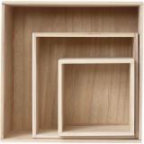 Aufbewahrungskästen, Quadrat, H: 15x15+21,5x21,5+28x28 cm, 3 Stck./ 1 Set