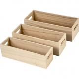 Holzkasten, H: 6,5-7,5 cm, L: 22+23,5+25 cm, B: 6,5+7,5+8,5 cm, 3 Stck./ 1 Set