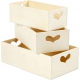 Aufbewahrungsboxen, H: 6,3+5,8+5,5 cm, L: 20,5+18+15,8 cm, B: 11,5+9,8+7,8 cm, 3 Stck./ 1 Set