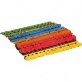 Holzbaustäbe mit Kerben, Sortierte Farben, L: 11,4 cm, B: 10 mm, 30 Stck./ 1 Pck.