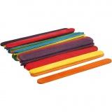 Farbige Holz-Eisstiele zum Basteln & Bauen, Sortierte Farben, L: 11,4 cm, B: 10 mm, 30 Stk/ 1 Pck
