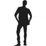 Stanzfigur aus Karton, Schwarz, Junger Mann, Größe 35x80 mm, 10 Stck./ 1 Pck.
