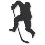 Stanzfigur aus Karton, Schwarz, Eishockey-Spieler, Größe 54x64 mm, 10 Stck./ 1 Pck.