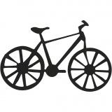 Stanzfigur aus Karton, Schwarz, Fahrrad, Größe 77x48 mm, 10 Stck./ 1 Pck.
