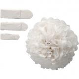 Seidenpapier-Pompons, Weiß, D: 20+24+30 cm, 14 g, 3 Stck./ 1 Pck.