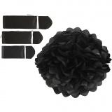 Seidenpapier-Pompons, Schwarz, D: 20+24+30 cm, 16 g, 3 Stck./ 1 Pck.