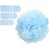 Seidenpapier-Pompons, Hellblau, D: 20+24+30 cm, 16 g, 3 Stck./ 1 Pck.