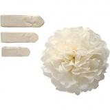 Seidenpapier-Pompons, Naturweiß, D: 20+24+30 cm, 16 g, 3 Stck./ 1 Pck.