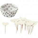 Cupcake-Formen und Picker, Naturweiß, H: 3 cm, D: 5 cm, 40 g, 24 Set/ 1 Pck.