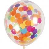 Ballons mit Konfetti, Transparent, rund, D: 23 cm, 4 Stck./ 1 Pck.
