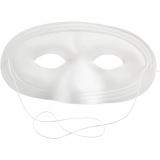 Halbmaske, Weiß, H: 10 cm, B: 17,5 cm, 12 Stck./ 1 Pck.