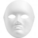 Vollmaske, Weiß, H: 22 cm, B: 17 cm, 1 Stck.