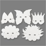 Masken, Weiß, H: 15-20 cm, 230 g, 5 Stck./ 1 Pck.