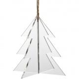 3D Anhänger aus Acryl, Weihnachtsbaum, Größe 7,5x7,5 cm, Dicke 2 mm, 3 Stk/ 1 Pck