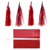 Papier-Quasten, Weinrot/Rot, Größe 12x35 cm, 14 g, 12 Stck./ 1 Pck.