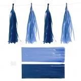 Papier-Quasten, Dunkelblau/Hellblau, Größe 12x35 cm, 14 g, 12 Stck./ 1 Pck.