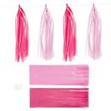 Papier-Quasten, Pink, Rosa, Größe 12x35 cm, 12 Stck./ 1 Pck.