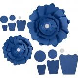 Papierblumen, Blau, D: 15+25 cm, 230 g, 2 Stck./ 1 Pck.