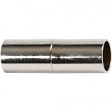 Magnetverschluss, Versilbert, L: 23 mm, Lochgröße 6 mm, 2 Stk/ 1 Pck