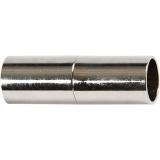Magnetverschluss, Versilbert, L: 20 mm, Lochgröße 5 mm, 2 Stk/ 1 Pck