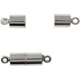 Magnetverschluss, Versilbert, L: 17 mm, D: 5 mm, 2 Stk/ 1 Pck