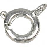 Federringverschluss, Versilbert, D: 7 mm, 10 Stk/ 1 Pck
