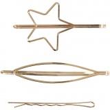 Haarspange, Vergoldet, L: 70 mm, B: 32 mm, 3 Stck./ 1 Pck.