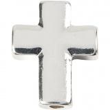 Kreuz, Versilbert, Größe 13x17 mm, Lochgröße 2 mm, 3 Stck./ 1 Pck.
