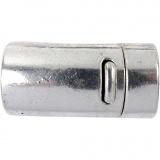 Magnetverschluss, Antiksilber, D: 26 mm, Lochgröße 10 mm, 1 Stk