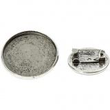 Brosche, Antiksilber, D: 18+25 mm, 6 Stck./ 1 Pck.