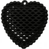 Herz, Schwarz, Größe 28x29 mm, Lochgröße 1 mm, 1 Stck.