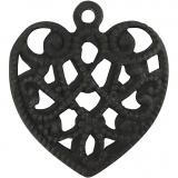 Herz, Schwarz, Größe 13x14 mm, Lochgröße 1 mm, 4 Stck./ 1 Pck.