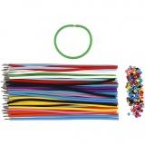 Armbänder - Sortiment, Sortierte Farben, L: 20 cm, dicke 4 mm, 48 Set/ 1 Pck.