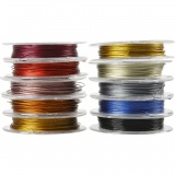 Schmuckdraht, Sortierte Farben, Dicke 0,38 mm, 10x10 m/ 1 Pck