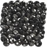 Glasschliffperlen, Schwarz metallic, Größe 3x4 mm, Lochgröße 0,8 mm, 100 Stck./ 1 Pck.