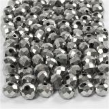 Glasschliffperlen, Grau metallic, Größe 5x6 mm, Lochgröße 1 mm, 100 Stk/ 1 Pck