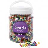 Pony-Perlen, Sortierte Farben, D: 6 mm, Lochgröße 3 mm, 700 ml/ 1 Dose, 425 g