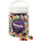 Pony-Perlen, Sortierte Farben, D: 10 mm, Lochgröße 4,5 mm, 700 ml/ 1 Dose, 430 g