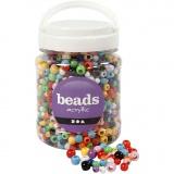 Pony-Perlen, Sortierte Farben, D: 6-10 mm, Lochgröße 3-5 mm, 700 ml/ 1 Dose, 430 g