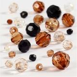 Facettenperlen-Mix, Golden, Größe 4-12 mm, Lochgröße 1-2,5 mm, 50 g/ 1 Pck.