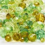 Facettenperlen-Mix, Grün mit Glitter, Größe 4-12 mm, Lochgröße 1-2,5 mm, 250 g/ 1 Pck.