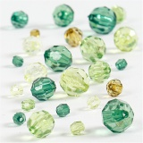 Facettenperlen-Mix, Grün mit Glitter, Größe 4-12 mm, Lochgröße 1-2,5 mm, 45 g/ 1 Pck.