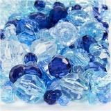 Facettenperlen-Mix, Blautöne, Größe 4-12 mm, Lochgröße 1-2,5 mm, 250 g/ 1 Pck.