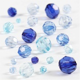 Facettenperlen-Mix, Blautöne, Größe 4-12 mm, Lochgröße 1-2,5 mm, 45 g/ 1 Pck.