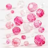 Facettenperlen-Mix, Pink, Größe 4-12 mm, Lochgröße 1-2,5 mm, 45 g/ 1 Pck.