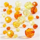 Facettenperlen-Mix, Gelb, Größe 4-12 mm, Lochgröße 1-2,5 mm, 45 g/ 1 Pck.
