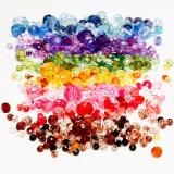 Facettenperlen-Mix, Sortierte Farben, D: 4-12 mm, Lochgröße 1-2,5 mm, 7x250 g/ 1 Pck.