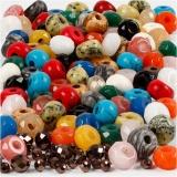 Facettierte Perlen, Sortierte Farben, Größe 4x6 + 8x14 mm, Lochgröße 1-4 mm, Inhalt kann variieren , 1 Set